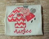 Peppa Pig Fairy Shirt,Peppa Pig Birthday Shirt,Birthday Number Shirt,Pink Peppa Pig Shirt