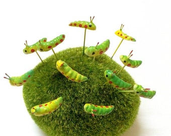 Miniature Dollhouse FAIRY GARDEN Accessories 20 Tiny Green caterpillar Picks