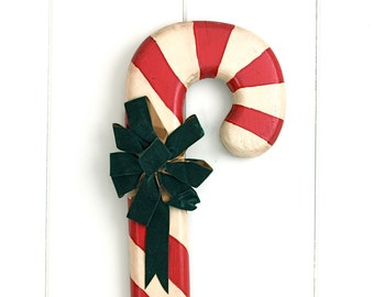 Vintage Wooden Candy Cane Wall Plaque Christmas Kitsch