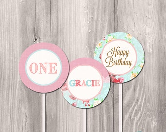 Shabby chic cupcake toppers, printable cupcake toppers, floral cupcake toppers, first birthday cupcake toppers, DIY cupcake toppers