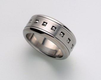 Mens spinner wedding ring, Spinning ring, Windows stainless steel cool ring, simple band man, tough men,guy unique jewelry 5-13
