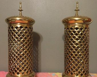 Solid brass pendant lights (pair)
