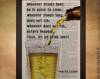 Beer Dictionary Art Print, Mircrobrew Micro Brew Brewing Quote Martin Luther Home Decor Wall Gift Ideas da656