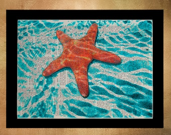 Starfish Dictionary Art Print Orange Marine Life Wall Art Home Decor Upcycled Book Nursery Art da673