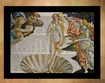 Botticelli Birth of Venus Dictionary Renaissance Fine Art Print Art Print Wall Art Home Decor Upcycled Book da805