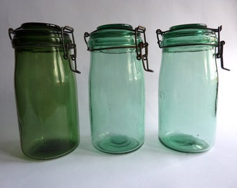 A French vintage ideal and solidex canning jar, preserving jar