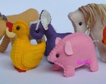 Farm animals, waldorf farm animals, eco friendly farm animals, waldorf toys, child's toy,donkey