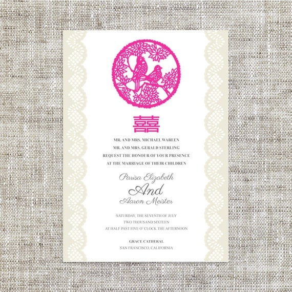 Items similar to diy printable chinese wedding for Chinese wedding invitations etsy