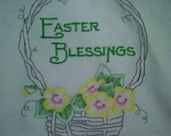 kitchen towel, machine embroidery, redwork, Easter