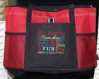 Teacher Appreciation Gift! Embroidered Personalized Monogram Monogrammed Teacher Tote Bag; Teacher Appreciation Week