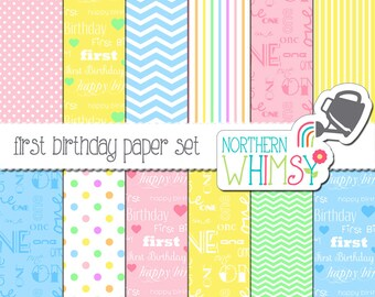 First Birthday Digital Paper Pack – pastel scrapbook papers for invitations, card making, baby books, etc – instant download – CU OK