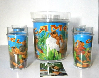 Vintage Joe Camel Thermo Serv Acrylic Ice Bucket with Four Tumblers / Highballs / 1992 RJ Reynolds Tobacco Co. / Advertising