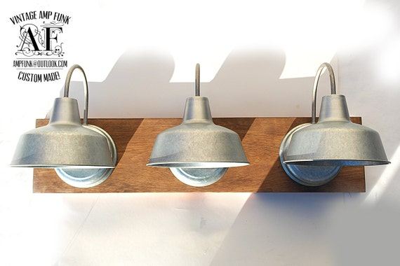 Industrial Galvanized Steel Lights Bathroom By VintageAmpFunk