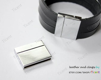 2 sets 29mmx2.5mm Hole -Flat Magnetic Closure,Silver Plated Clasp (extrodinarily magnetic) MT477