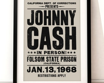 Johnny Cash concert poster, Johnny Cash art print, music inspired print, typographic print, Folsom Prison, Johnny Cash print