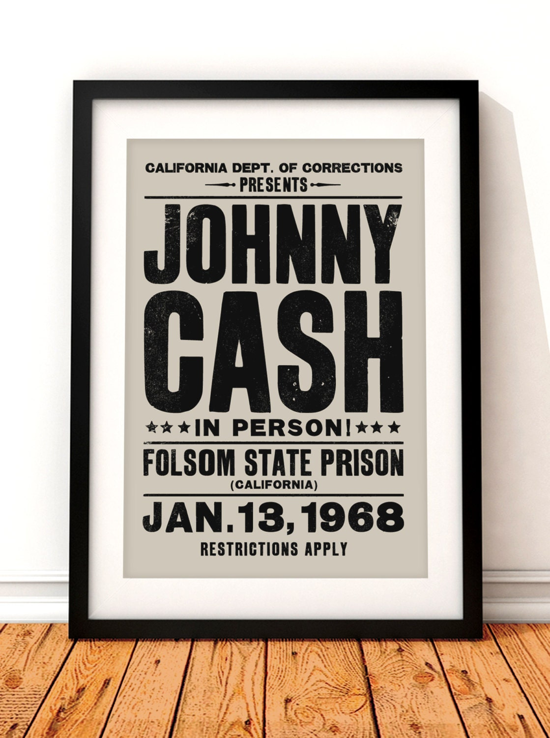 johnny cash concert poster johnny cash art print music. Black Bedroom Furniture Sets. Home Design Ideas