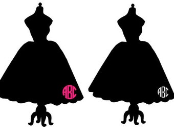 Dress on Sewing Form Monogram Decal