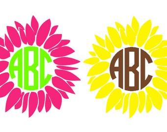 Sunflower Monogram Etsy