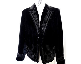 70s vintage INDIA beaded crop Jacket // black velvet Folk crop  Blazer