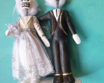 Day of the Dead Bride and Groom Mexican Folk Art Wedding Cake Topper