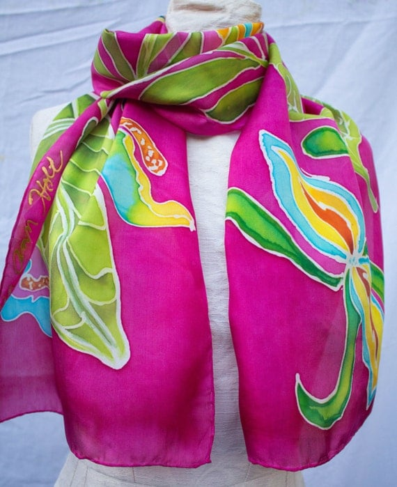 habotai silk painted silk scarves painted by artist
