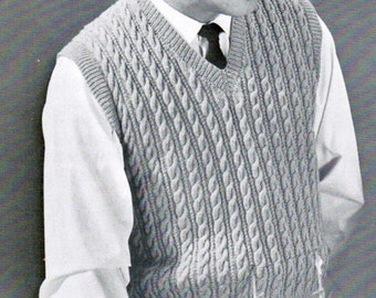 1940s Boys Pullover Vest Knitting Pattern PDF / Sizes 6