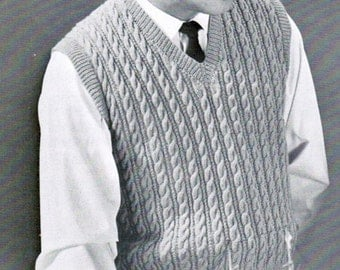 Knitted Chainmail Pattern : 1940s Boys Pullover Vest Knitting Pattern PDF / Sizes 6