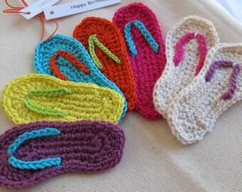 Miniature Flip Flop Crochet Pattern PDF / Instant Download / mini flip flop ornament pattern