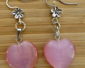 Handmade earrings with Tibetian silver and pink jade