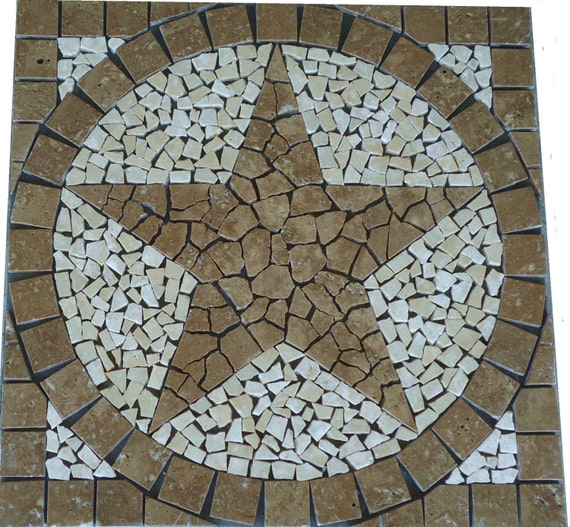 square noce brown marble texas star mosaic medallion backsplash wall
