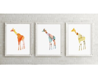 Set of 3 Giraffe Watercolor illustration - Giclee Prints - Yellow Orange aqua - Home Decor  - Nursery Art Animal Painting Giraffe Art