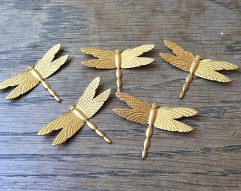 Vintage Gold Toned Dragonflies Art Deco Style