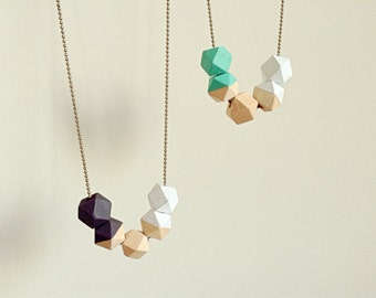 Geometric wooden beads necklace, mint white sepia, scandinavian look, choose your combination.