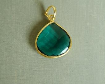 Gold vermeil bezel gemstone, smoky quartz ,pendant for necklace, bezel set gemstone, teardrop, green gemstone