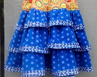 Girl's Corduroy Skirt, Size 8, Handmade, Blue Dotted Pinwale Corduroy, Pleated Ribbon Trim, Colorful Waist Section. Full Elastic, all Cotton