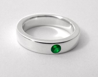 Sterling Silver Emerald Band - Sterling Emerald Band, Emerald Band, Emerald Ring, Sterling Silver Emerald Ring, Sterling Silver Wedding Band