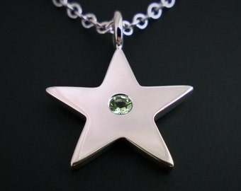 Peridot Star Necklace Pendant In Sterling Silver - Sterling Silver Star Necklace, Sterling Star Necklace, Sterling Silver Star Pendant