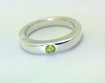 Simple Peridot Ring In Sterling Silver -Natural Peridot Ring, Sterling Peridot Ring, Sterling Silver Peridot Ring, August Birthstone Ring