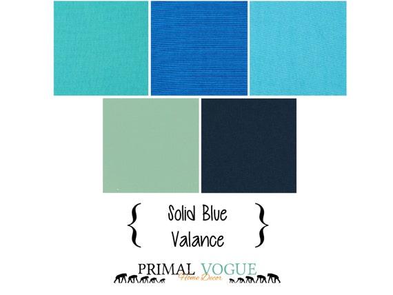 Solid Blue Valance Curtain with Rod Pocket - Navy Royal Cobalt Sky ...