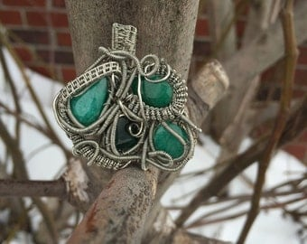 Emerald and Silver Copper Wire Wrapped Pendant~ Heady~ Wearable Art~ Abstract~ Artisan Pendant~ Emerald Jewelry