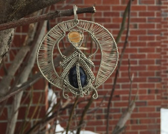 Scarab~ Sodalite and Star Sapphire~ Silver Copper~ Wire Wrap Pendant~ Ancient Egyptian~ Sun God~ Ra~ Artisan Jewelry