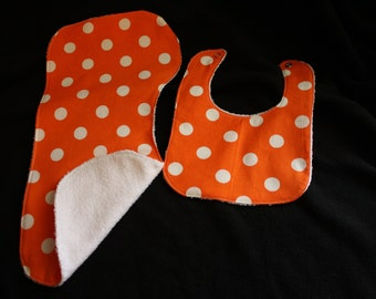 Orange Dot Baby Gift Set Bib, Burp Cloth