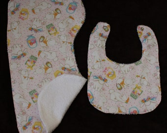 2 pc Baby Girl Gift Set Bib, Burp Cloth