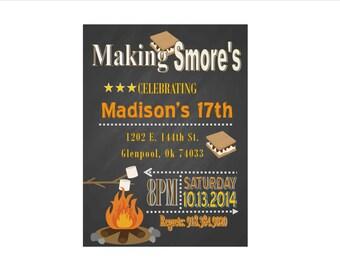 Smore's Birthday Party Invite