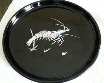 Vintage Black Enamel Serving Tray With Shrimp Design