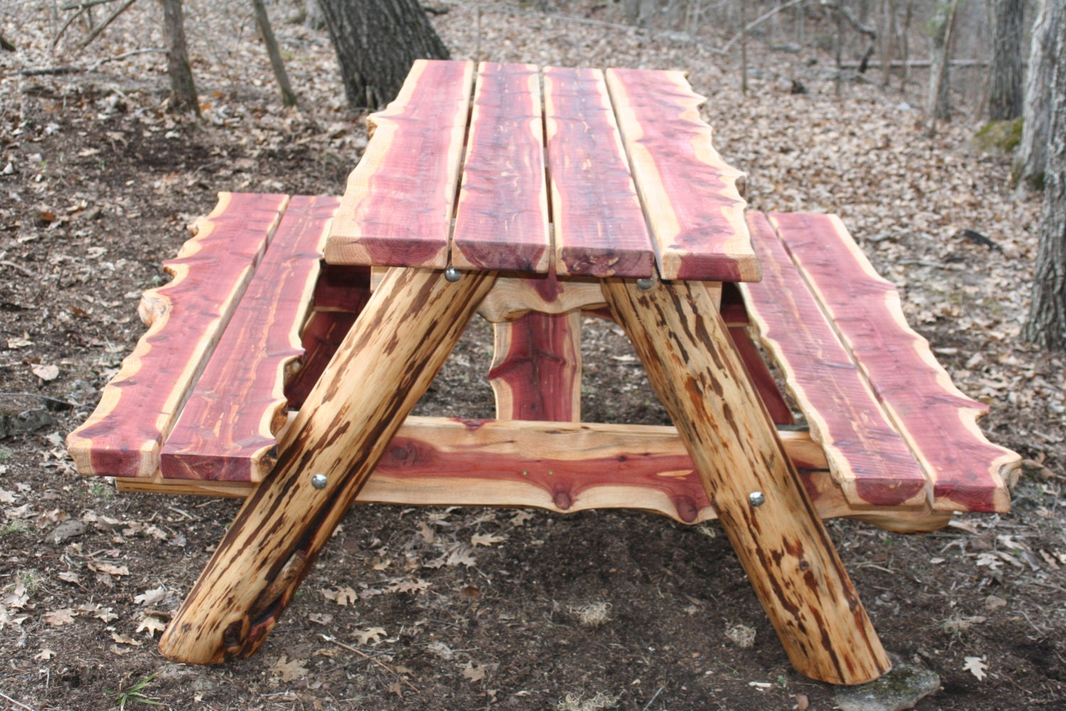 Ft live edge eastern red cedar picnic table by povertygulch