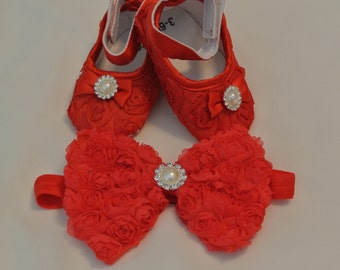 Baby Girl  Red Satin Rosette Crib Shoes, Baby shoes, Ready to ship, Christmas shoes, Red baby shoes, Christmas Headband