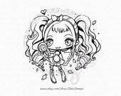 Candy Girl - DIGITAL STAMP Instant Download