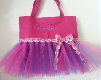 Sale Price! Limited time ONLY ! Dance Recital Tutu Tote Bag, Recital Bag, Gift idea, Frozen ribbon! Free Embroidery !