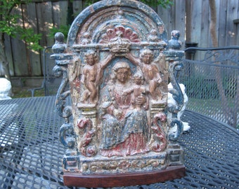 Religious Antique Goa Carved Wood Relief Madonna and Child